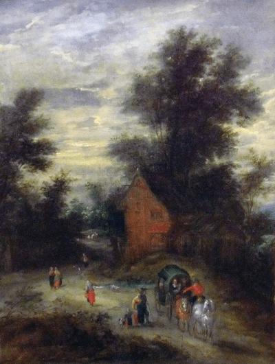BRUEGHEL - Le jeune Paysage avec personnages Musée-Carcasonne