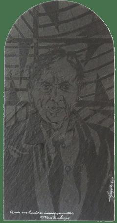 J.C.H, Portrait de Pierre Soulages (Ardoise 2011)