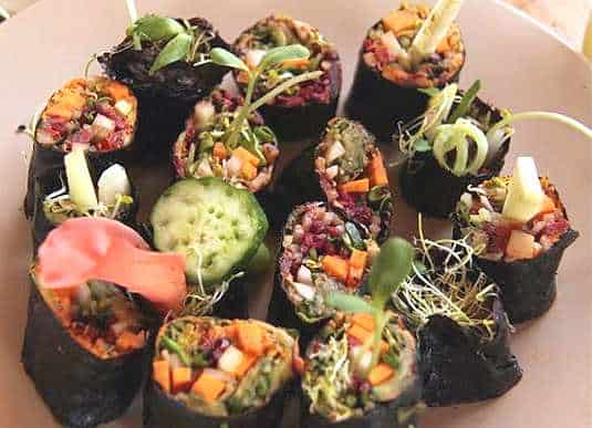 Crackers et sushis végétaux au Paradis