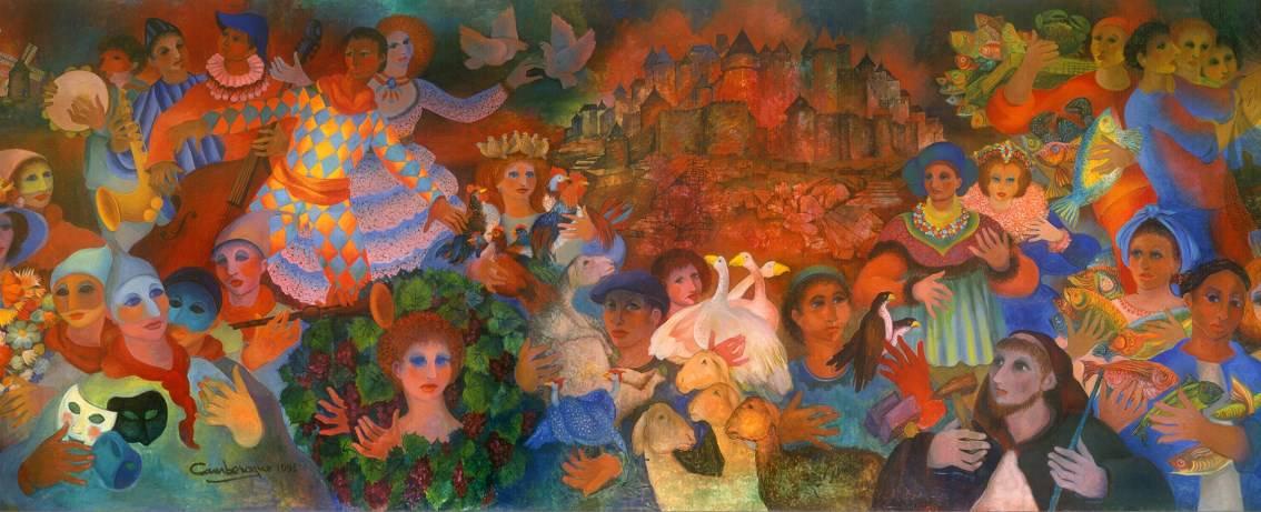L'Occitanie : toile monumentale accrochée en gare de Carcassonne